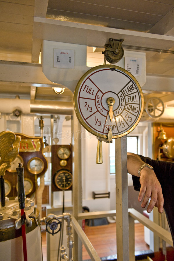 Engine Room Telegraph: Engine Room Speed Telegraph Stock Photo
