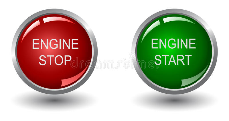 Engine stop and start buttons stock illustration