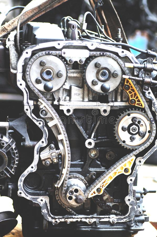 Engine with timing chain stock photo
