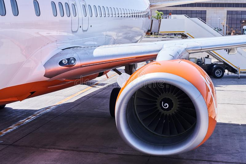 Engine turbine of airplane in the airport, close up stock image