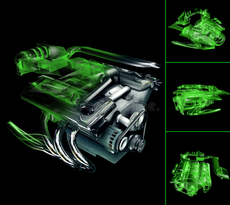 Engine V6. V6 Engine in 3D and X-ray royalty free illustration