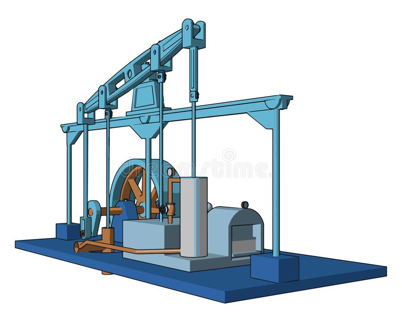 Engine working procedure vector or color illustration. The steam engine operated by using force produced by steam pressure to push a piston back and forth inside vector illustration