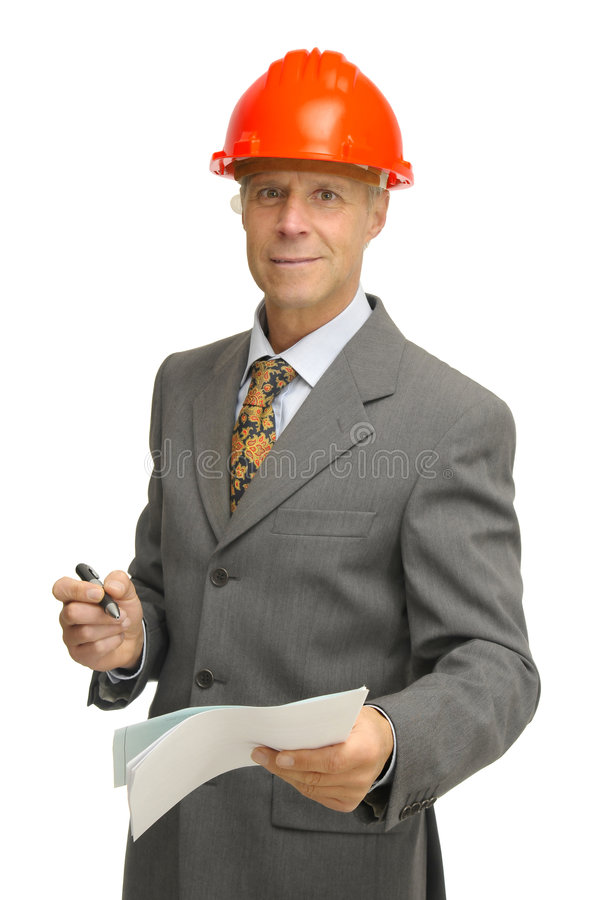 Engineer. Mature engineer isolated in white stock images