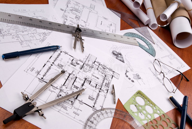 Engineer, architect or contractor plans and tools stock image