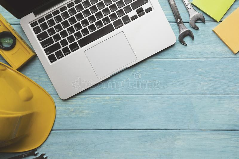 Engineer or architect desk background in the office. Project ideas concept royalty free stock image