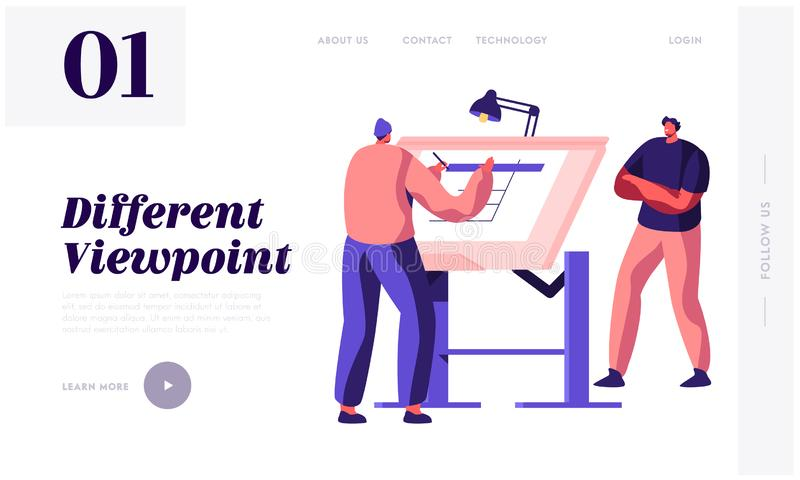 Engineer Architect Work on Draft Project on Drawing Board Landing Page. Man Creator of Architecture Drafting. Office Employee. Projecting Plan Website or Web royalty free illustration