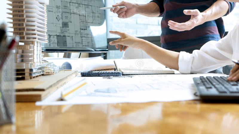 engineer or architectural project stock photos