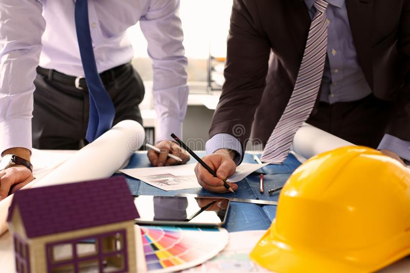 Engineer or Architectural Project Partnership royalty free stock images