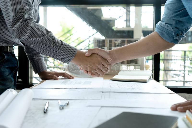 engineer or architectural project, two engineering or architect stock photo