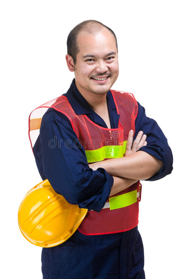 Engineer. Asian Engineer isolated on white royalty free stock photos