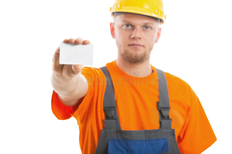 Engineer with blank business card royalty free stock photos