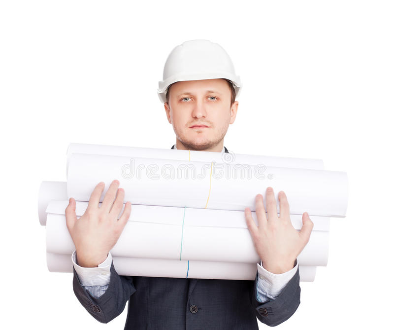 Download Engineer with blueprints stock image. Image of hardhat - 23605115