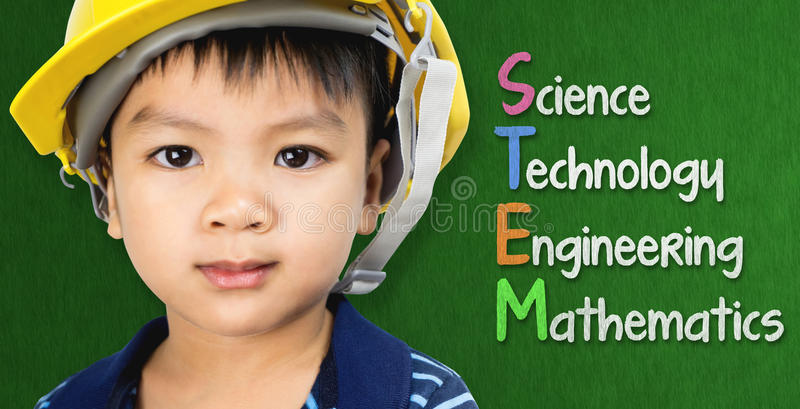 Engineer boy is studying STEM education royalty free stock photography