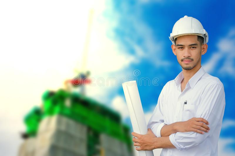 Engineer builder at construction stock images