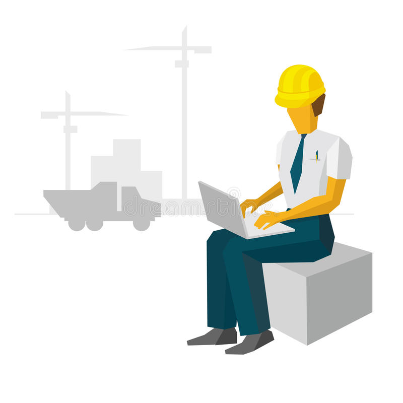Engineer builder work with laptop on construction site. Architect typing on the notebook. Silhouettes of cranes, buildings and cargo car at horizon. Flat royalty free illustration