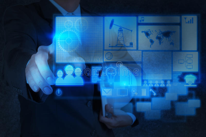 Engineer business hand working with new technology industry stock image