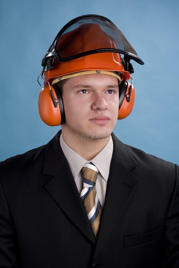 Engineer in cap stock image