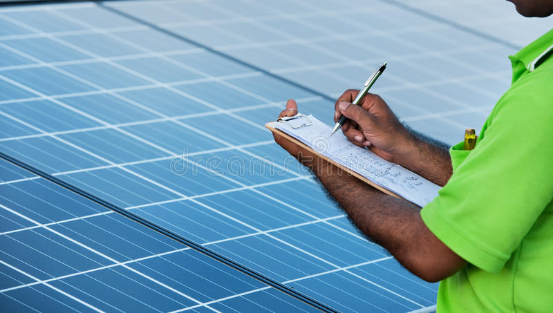 Download Engineer Checking Solar  Station Stock Image - Image: 22461655