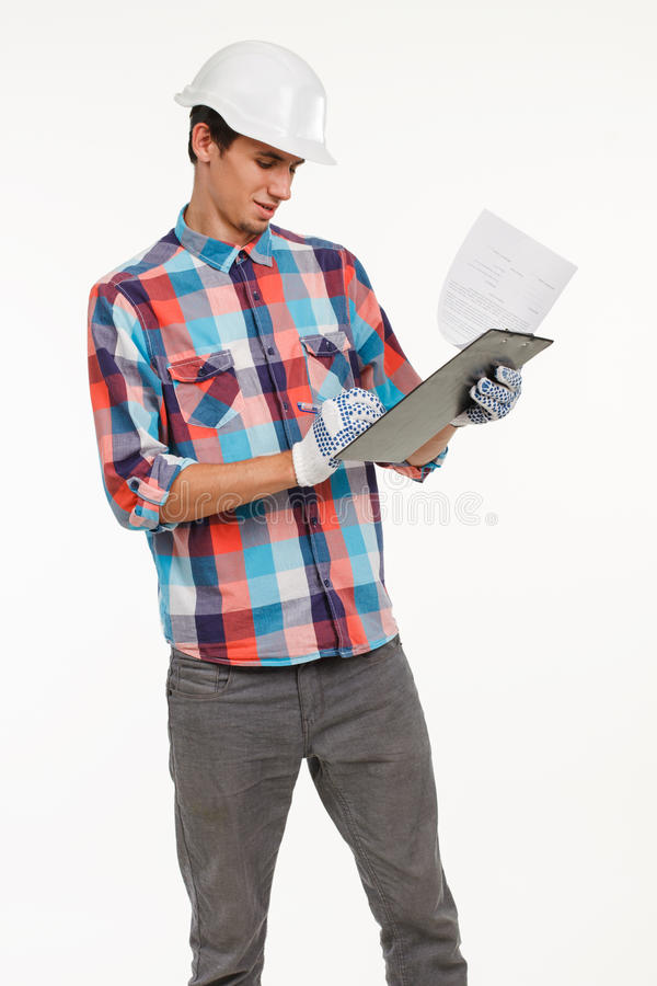 Engineer compares quantity surveying royalty free stock photos