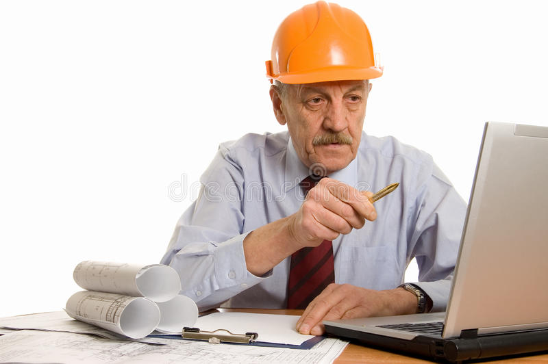 Engineer at the computer stock photo