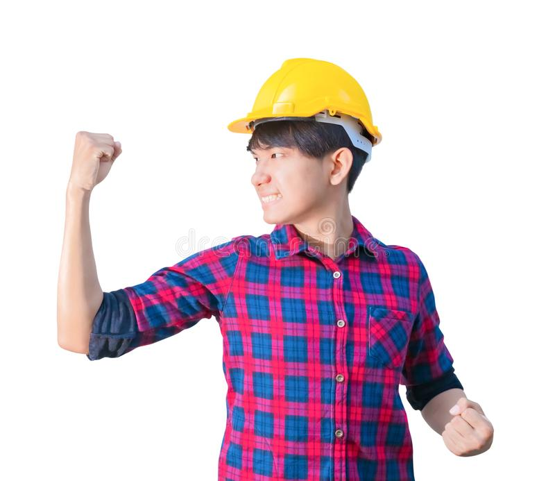 Engineer construction man wear yellow safety helmet plastic raise fist irritated and angry isolated on white background.  stock images