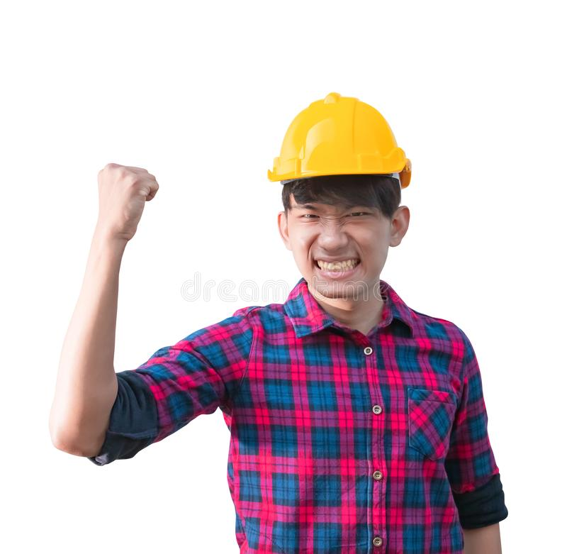 Engineer construction man wear yellow safety helmet plastic raise fist irritated and angry isolated on white background.  stock image