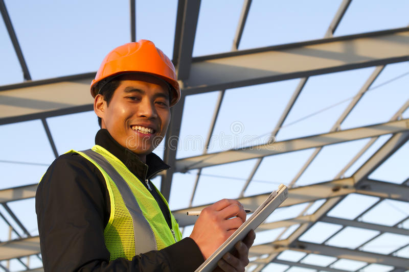 Engineer Construction Under New Building Checking Plan Stock Image