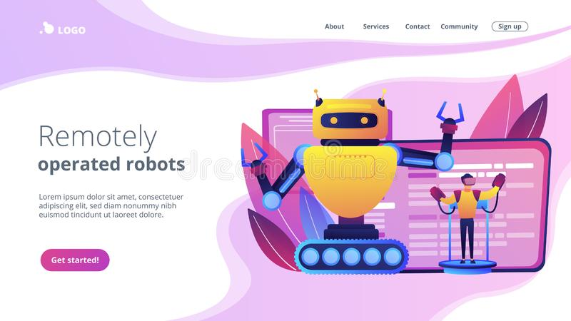 Remotely operated robots concept landing page. stock illustration