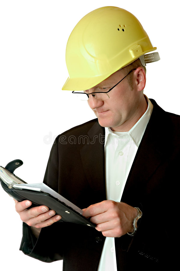 Engineer with day planner royalty free stock photography