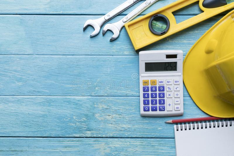 Engineer desk background ,project ideas concept stock image