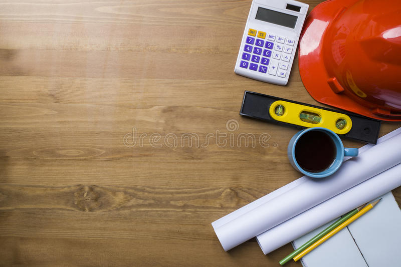 Engineer desk and project ideas concept royalty free stock photo