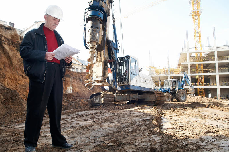 Engineer with documentation at royalty free stock image