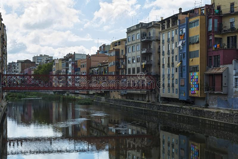 The engineer Eiffel bridge over the river Onyar Girona, Spain royalty free stock photography
