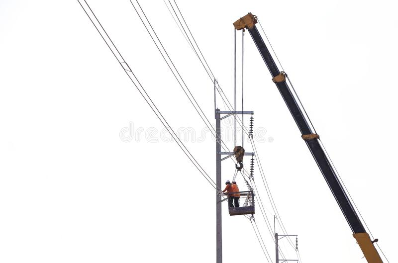 Engineer Electrician Workers On Repairing electrician stock photography