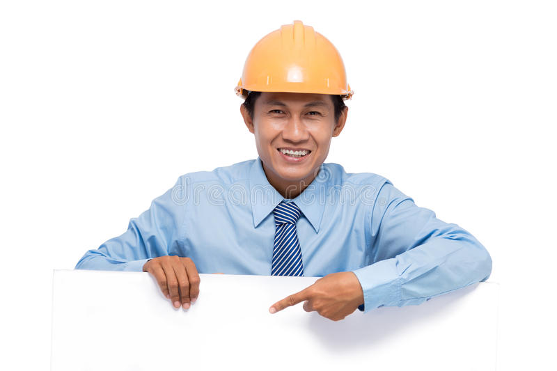 Engineer with empty board stock images