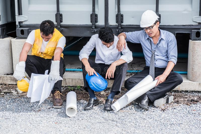 Engineer fail. Engineer tried and pressured because the construction problem stock photo