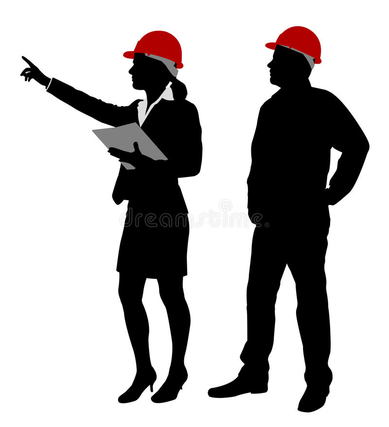 Engineer and foreman working stock illustration