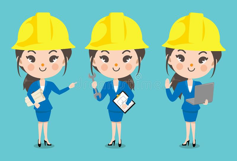 Engineer girl in many action. Set character girls show various gestures and emotions in the engineer staff clothes vector illustration