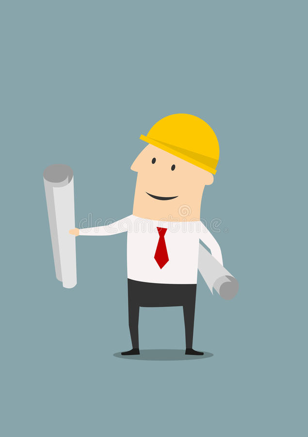 Engineer in helmet with plans and blueprints vector illustration