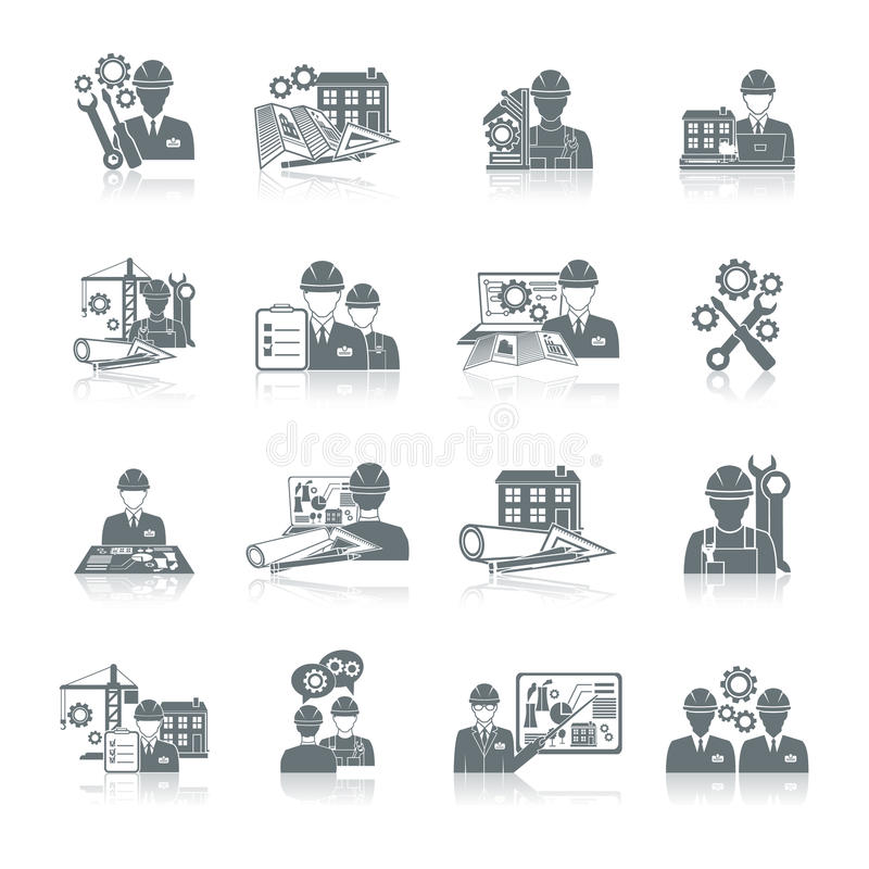Engineer icon black. Engineer construction equipment machine operator production and manufacturing icons black set isolated vector illustration stock illustration