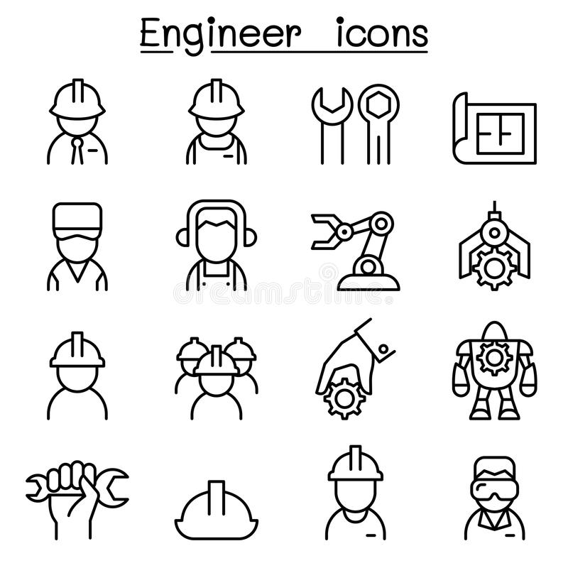 Engineer icon set in thin line style royalty free illustration