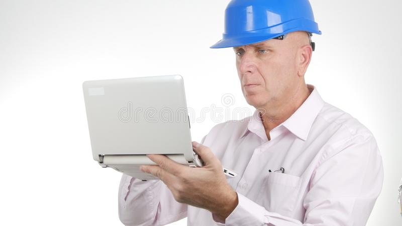 Engineer Image Work Using Laptop Wireless Network Connection stock photo