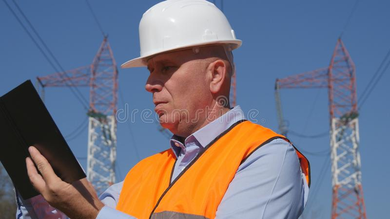 Engineer Image Writing Technical Data in Agenda royalty free stock image