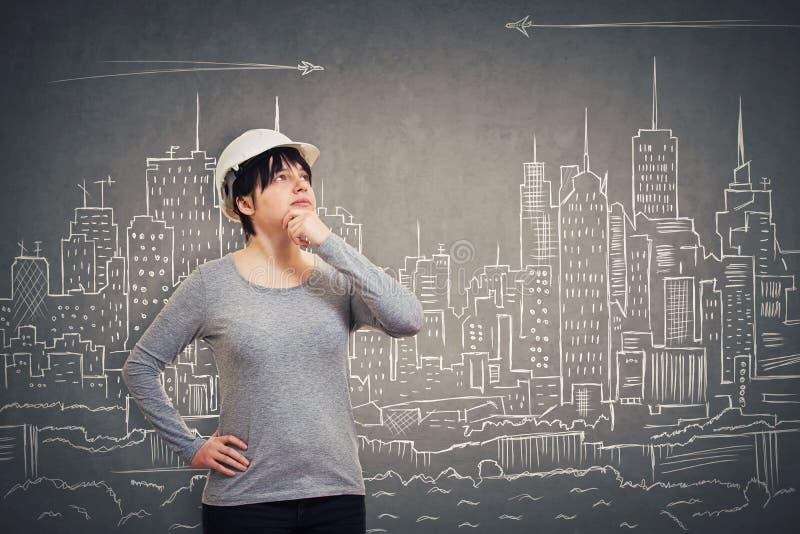 Engineer imaginary city royalty free stock photography