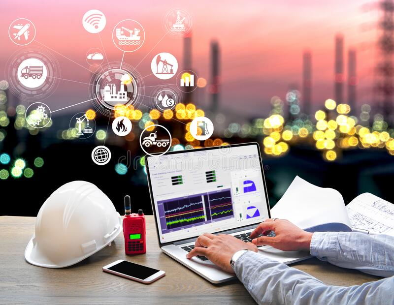 Double exposure of Industry oil and gas refinery concept. Engineer Industrial working in office at Oil and gas Industry refinery zone,Industry petrochemical stock photography
