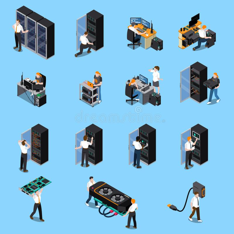 IT Engineer Isometric Set royalty free illustration