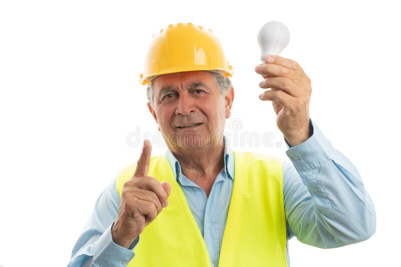 Engineer making brilliant idea gestre royalty free stock images