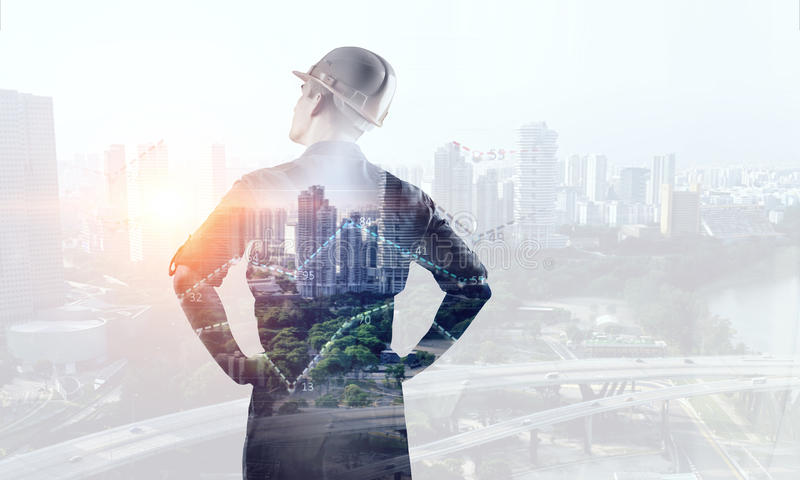 Engineer man viewing cityscape stock images