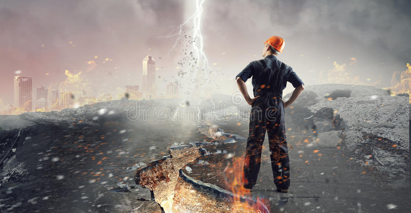 Engineer man viewing cityscape stock photography