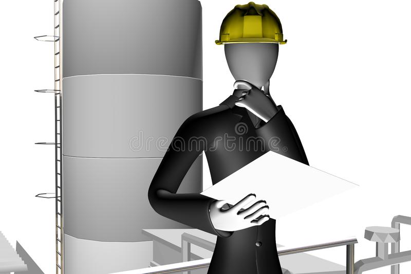 Download Engineer And Manager On Industrial Site Stock Illustration - Illustration of problems, gasoline: 7728803